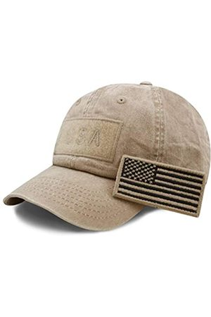 The Hat Depot Baumwolle & Pigment Low Profile Tactical Operator USA Flag Patch Military Army Cap - Beige - Einheitsgröße
