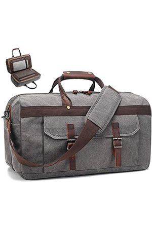 SOAEON Seesack für Herren, wasserdicht, echtes Leder, Segeltuch, Reisetasche, Reisetasche, Reisetasche, Reisetasche, Reisetasche, Wochenendtasche