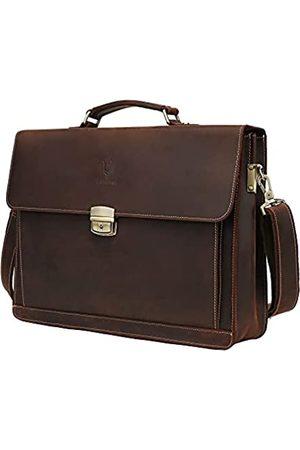 WILD WORLD Herren-Aktentasche aus Vollnarbenleder, Vintage-Stil, passend für Laptops mit 15,6 Zoll (39,6 cm), Diebstahlschutz