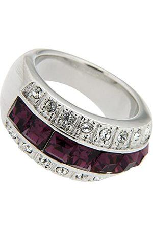 Jean Pierre Damen-Ringfarbener mit Swarovski und Messing rhodiniert Synthetischer Diamant weiß Quadratschliff Amethyst Gr. 66 (21.0) - HEJR1687-21 RH
