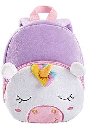 KK CRAFTS Cute Kids Toddler Backpack Plush Toy Animal Cartoon Children Bag for 2~5 Years Baby (Purple Unicorn)