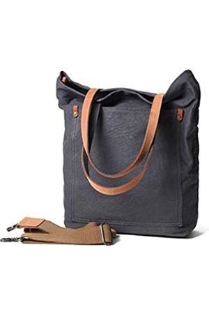 Jeelow Canvas Tote Schultertasche Handtasche Crossbody Taschen Geldbeutel für Damen & Herren mit Reißverschluss & Taschen, Grau (Mittelgrau)