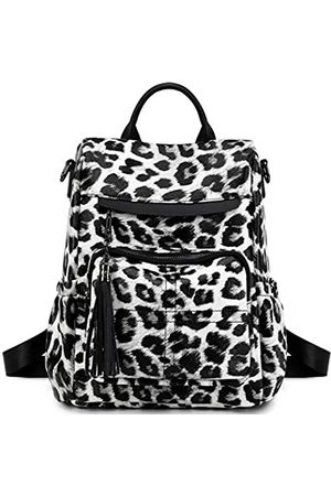 CAMTOP Womens Backpack Purse PU Leather Casual Backpack Shoulder Bag Travel Daypack (110 Black Leopard-White)