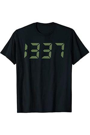 Geeksta Hacker Shirt Herren Uhren - 1337 T-Shirt Computer Hacker Design im Stil einer Digitaluhr
