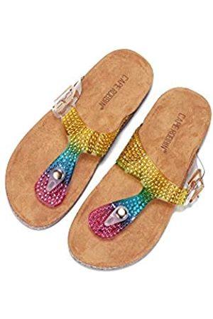 Cape Robbin Alyson T-Strap Sandalen Slides Hausschuhe für Damen, Damen Pantoletten Slip On Hausschuh mit Nieten, (regenbogenfarben)
