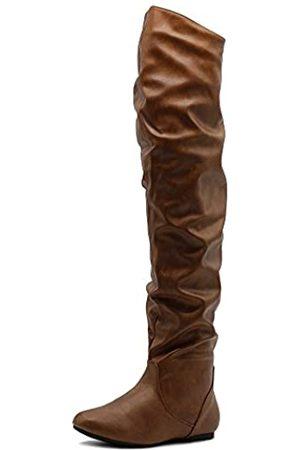 Ollio Damen Schuh Stretch Faux Wildleder oder Kunstleder Overknee Flach Falten Lange Stiefel, (Tan-Pu)