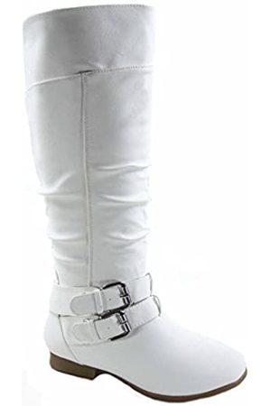 Top Moda Coco-20 Damen Mode Runde Zehen Niedriger Absatz Kniehohe Reißverschluss Reitstiefel Schuhe
