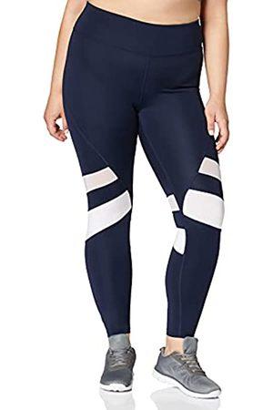AURIQUE Amazon-Marke: Damen 7/8-Lauf-Leggings mit hohem Bund, Blau (Navy/White), 34