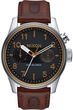 Nixon Herren Chronograph Quarz Uhr mit Leder Armband A977 019-00