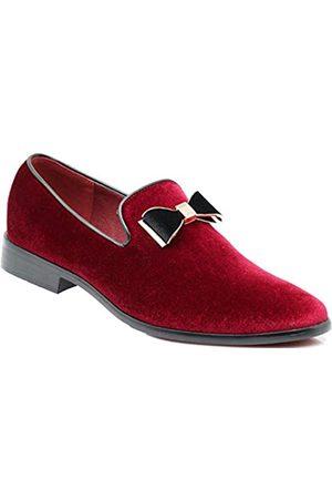 Enzo Romeo SPK03 Herren Vintage Einfarbig Samt Kleid Loafers Slip On Schuhe Klassische Smoking Kleid Schuhe, (Burgund (77))