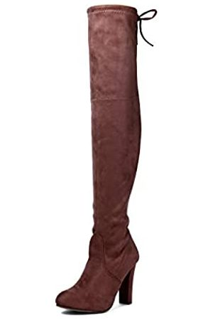 EMERCLY Emerly Damen Overknee Overknee High Block Heels Veloursleder-Stiefel, (taupe)