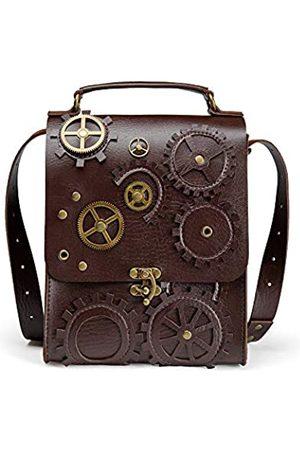 Daniel Jie Steampunk Leder Messenger Bag Gothic Retro Aktentasche Handheld Crossbody Schulter Groß Satchel Schultasche für Männer Frauen
