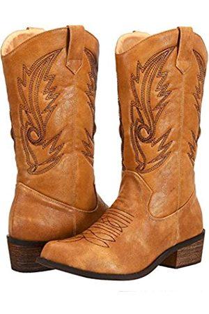 SheSole Damen Western Cowboy Cowgirl Stiefel, halbe Wade, spitz zulaufend, bestickt, (hautfarben)