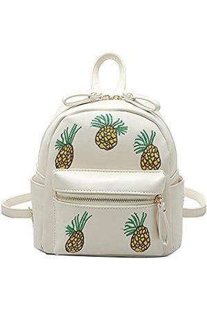 YSMYWM Damen Rucksack mit Ananas-Stickerei, PU-Leder, Weiá