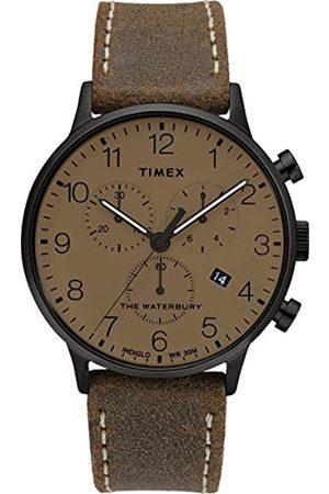 Timex Herren Analoger Quarz Uhr mit Echtes Leder Armband TW2T28300