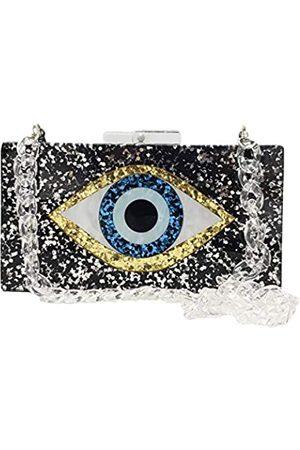 Boutique De FGG Damen-Handtasche aus Acryl, Motiv: böser Blick, Abendtaschen und Clutches