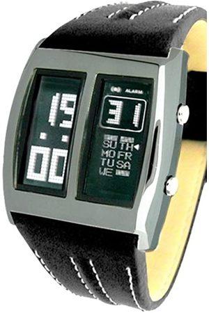 Pierre Lannier 254 ruhiger – Herrenuhr – Stahl – Quartz Digitale – Anzeige Grau – schwarzes Ziffernblatt – Armband Leder