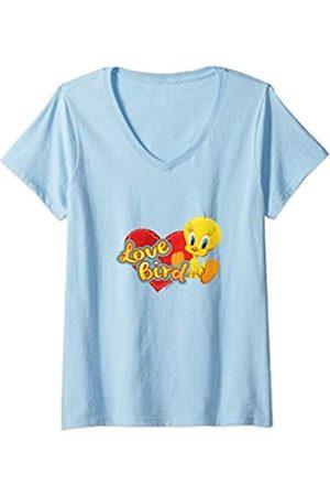 LOONEY TUNES Damen Tweety Love Bird Valentine's Day T-Shirt mit V-Ausschnitt