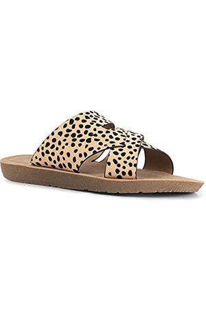 Qupid Eppa Sandalen für Frauen – Offener Zehenbereich Casual Wedge Flip Flop Sandalen Slides, ( Leopard Wildleder)