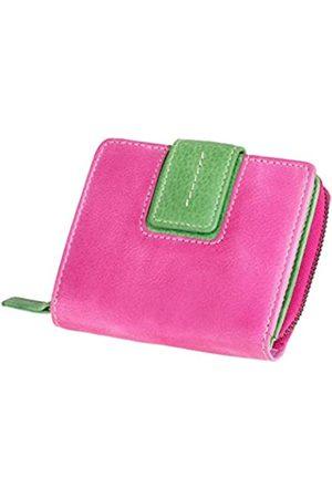 Mika 42184 - Damengeldbörse aus Echt Leder, Portemonnaie im Hochformat, Geldbeutel mit 9 Kartenfächer, 2 Einschubfächer, 2 Scheinfächer und Münzfächer, Brieftasche in pink/ , ca. 9 x 10