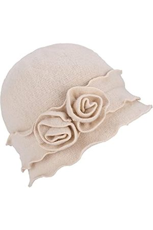 Lawliet Damen Mütze Gatsby 1920er Winter Wollmütze Baskenmütze Beanie Crochet Bucket Flower Hat A285 - Wei� - Einheitsgröße