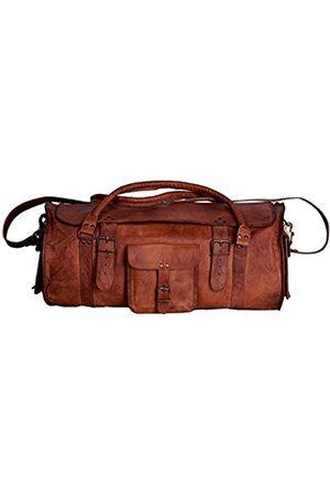 vintage crafts 53,3 cm große runde Reisetasche für Herren, aus Leder, für Reisen, Fitnessstudio, Sport