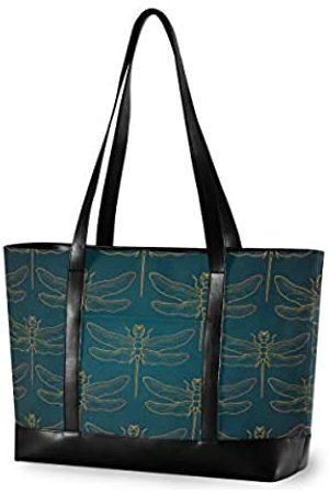 alaza Laptop-Tragetasche mit Libellen-Motiv, passend für 15,6 Zoll (39,6 cm), leicht, Canvas-Leder