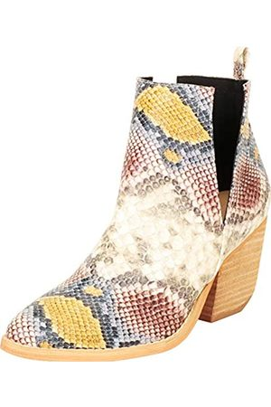 Cambridge Select Damen Western Spitze Zehen Seite V Ausschnitt Chunky Stacked Blockabsatz Ankle Bootie, Mehrfarbig (Multi Snake PU)