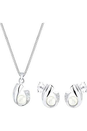 DIAMORE Schmuckset Damen mit Süßwasserperlen und Diamant (0.05 ct.) in 925 Sterling Silber