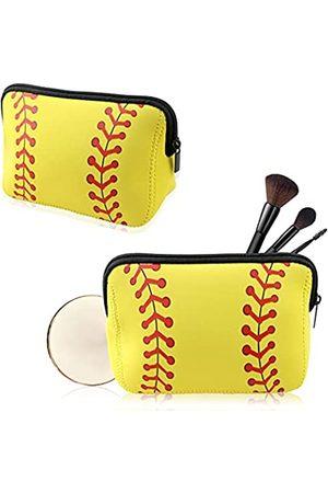 MotBach Make-up-TaschemitBaseball-DruckgelberSoftball-Reise-KosmetikbeutelwasserdichtNeoprenmitReißverschlussfürFrauenMädchen2Stück