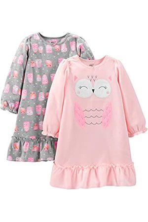 Simple Joys by Carter's 2-Pack Fleece Nightgown, Grey/Pink Owls