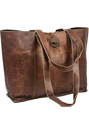 vintage crafts Vintage Echtleder Tote Bag Handtasche Shopper Geldbörse Schultertasche für Frauen Büro Laptop Tasche