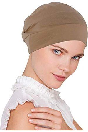 Turban Plus Chemo Cap Damen Weiche Baumwolle Strickmütze Schlafmütze Turban Hut Kopfbedeckung für Krebs - Braun - Einheitsgröße
