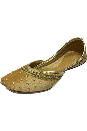 Step N Style Flache Samt-Khussa-Schuhe für Damen, Punjabi-Jutti, traditionelle Mojari-Loafer-Pumps