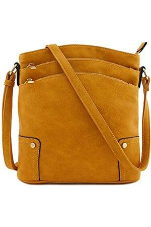 Alyssa Große Crossbody-Tasche mit drei Reißverschlusstaschen., Gelb (senffarben)