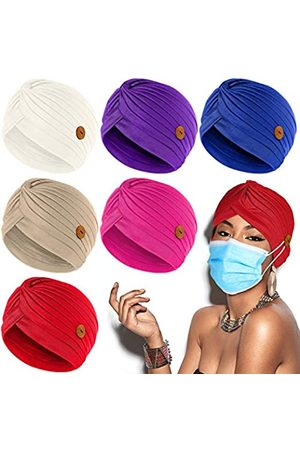 Syhood Turbans Cap with Button Women Pre-Tied Knot Pleated Headwrap Beanie Soft Sleep Hat India's Hat (Retro Colors