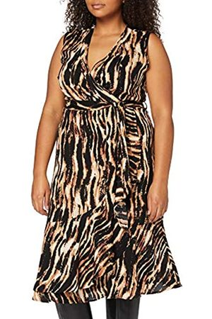 Mela Damen London-Animal Printed WRAP Front MIDI Dress Lässiges Kleid