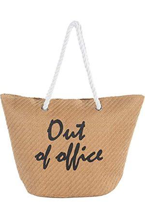 Funky Junque Damen Strandtaschen - Damen Strandtasche mit Spruch, große Stroh-Reisetasche, Braun (Nicht im Büro)