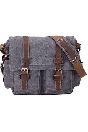 Sechunk Vintage Military Leather Canvas Laptop Bag Messenger Bags Medium (Medium-15'')