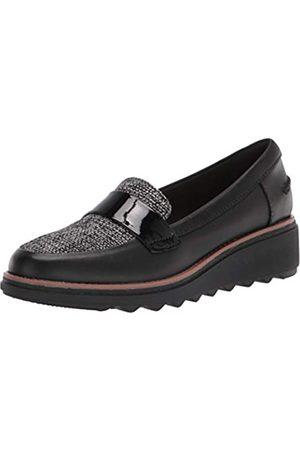 Clarks Damen Women's-Sharon Gracie-Black Leather 9.5M Penny Loafer, Leder/Tweed