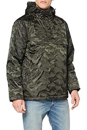 Urban classics TB1802 Herren Windbreaker Padded Camo Pull-Over Jacket - gefütterte Camouflage Überziehjacke mit Bauchtasche und verstellbarer Kapuze - Farbe darkolive