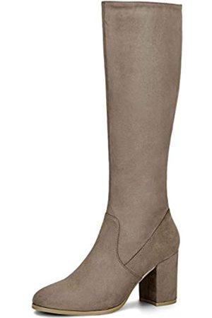 Allegra K Damen Round Toe Reißverschluss Blockabsatz Kniehohe Boots Stiefel 41
