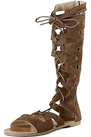 SANDALUP Gladiator Sandalen Kniehohe Flache Sandalen Römische Schuhe mit offenen Zehen Design für Damen, (braunes Wildleder)