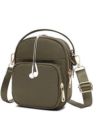 Semikk Kleine Umhängetasche für Frauen, Handytasche, Umhängetasche, Mini-Reise-Nylon-Umhängetasche, mehrere Reißverschlusstaschen., (armee- )