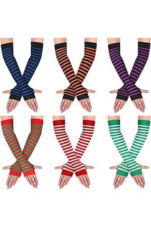 SATINIOR 6 Paare Frauen Lange Fingerlose Handschuhe Gestrickt Armstulpen Armwärmer Daumenloch Dehnbare Handschuhe (Gemischte Farbe)
