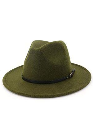 HUDANHUWEI Damen Klassische breite Krempe Fedora Hut mit Gürtelschnalle Filz Panama Hut - - Einheitsgröße