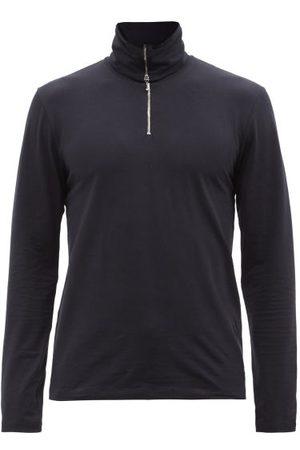 Jil Sander Zipped Roll-neck Cotton-blend Jersey Top