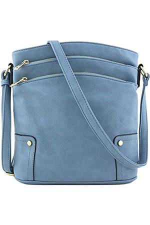 Alyssa Große Crossbody-Tasche mit drei Reißverschlusstaschen., Grau (schiefergrau)
