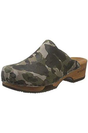 Woody Damen Clogs & Pantoletten - Damen Emma Clogs, Mehrfarbig (Camouflage 096)