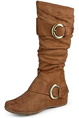 Journee Collection Damen kniehohe Stiefel mit breiter Wade und Schnalle, Braun (Kamelfarbenes Wildleder)